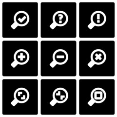 Vector black magnifying glass icon set
