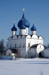 Winter day in Suzdal, Russia. Kremlin and Cathedral of the Nativ