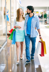 Shopping couple in the mall