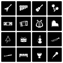 Vector black music instruments icon set