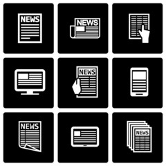 Vector black newspaper icon set