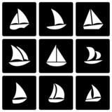 Vector black sailboat icon set