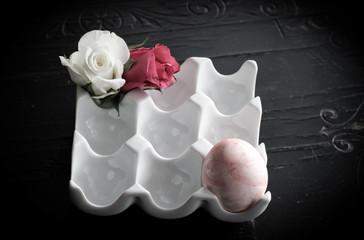 Roses and Egg in Porcelain Eggs Holder - Vintage Easter Decorati