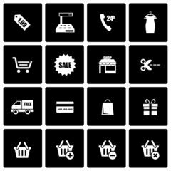 Vector black shopping icon set