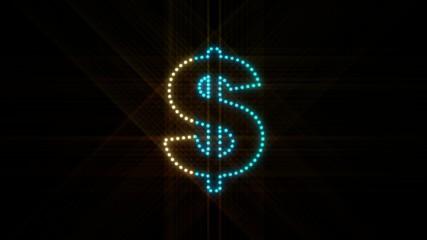 Set of 10 Dollar symbol LEDS reveals with alpha channel