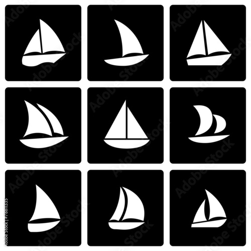 Vector black sailboat icon set - 78811335