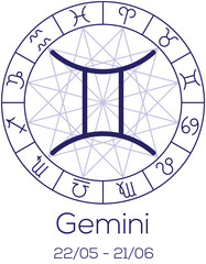 Zodiac sign - Gemini. Astrological symbol in wheel.
