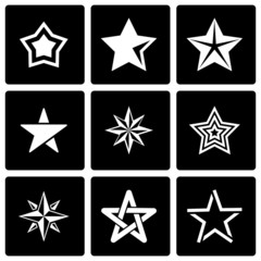 Vector black stars icon set