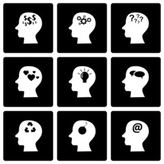 Vector black thoughts icon set