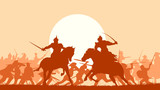 Illustration of medieval battle with fight of two mounted warrio - 78811759