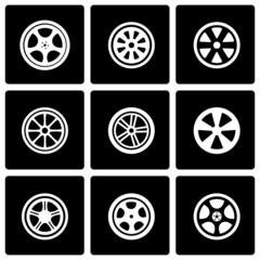 Vector black wheel icon set
