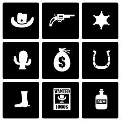 Vector black wild west icon set