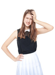 Annoyed young fashion teenage girl isolated