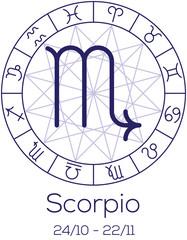 Zodiac sign - Scorpio. Astrological symbol in wheel.