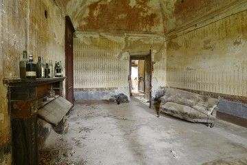 old abandoned room with sofa