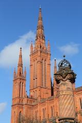 Wiesbaden, die Marktkirche und die Marktsäule  (Februar 2015)
