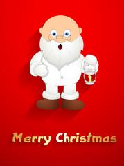 Funny Old Santa Holding a Lantern