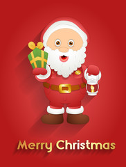 Cute Santa with Gift and Lantern