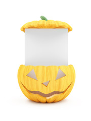 Halloween Jack O Lantern Pumpkin with Blank Board