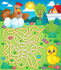 Maze 4 with hen and chicken