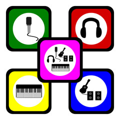 Music Symbol, Piano microphone guitar and earphone vector