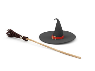 Witch Hat wit Broom isolated on white background