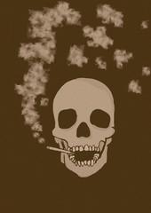Smoking skull vintage