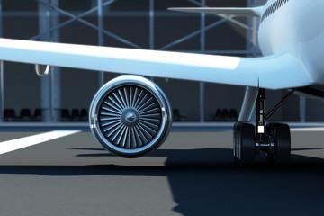 Close-up View of Airplane Turbine Engine