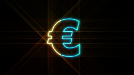 Set of 10 Euro symbol LEDS reveals with alpha channel