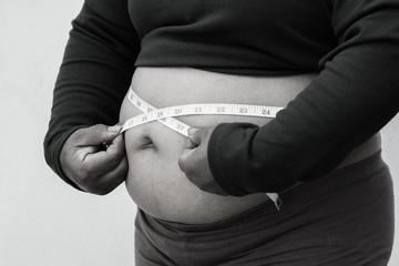 black and white picture style for Close-up of fat woman