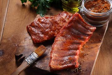 Fried Pork Rib on Cutting Board with Spicy Powder