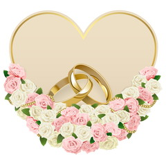 Vector Wedding  Card with Rings