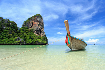 Traditional Thai boat, Long tail stand in the sea at Railay beac