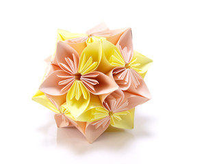 origami pink and yellow flowers isolated on white background