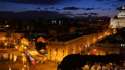 St. Peter's Basilica, Vatican. Rome, Italy. After sunset view