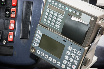 Cash register in the bus