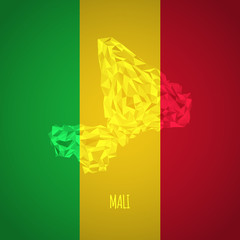 Low Poly Mali with National Colors