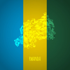 Low Poly Rwanda with National Colors