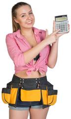Woman in tool belt showing calculator