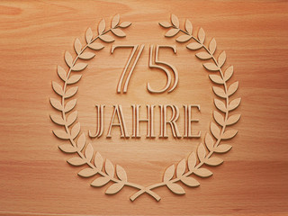 75 Jahre - Lorbeer - Holz H.