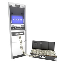 atm cash machine with Black leather suitcase
