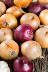 red and yellow onion on wooden surface