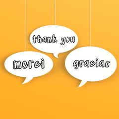 Thank you in foreign languages in the bubble speech