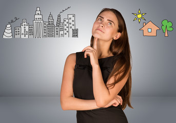 Woman making choice between city and country