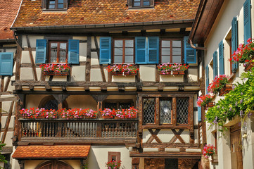 France, Alsace, picturesque old old village of Eguisheim
