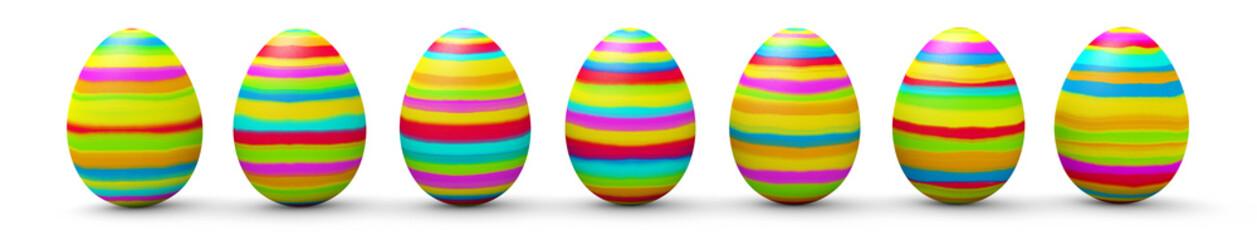 Ostereier, Ostern, Eier, bemalt, bunt, farbig, nebeneinander, 3D