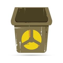 bin with radiation symbol