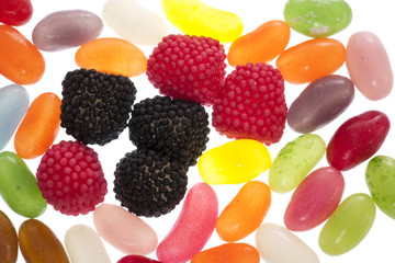 jelly bean and raspberry jelly sweets abstract
