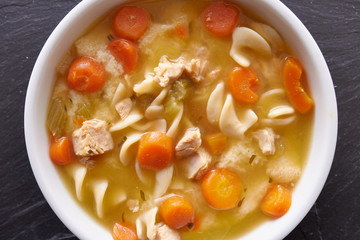 chicken noodle soup top down photo close up