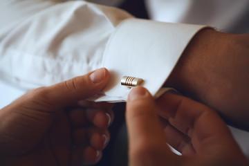 men wear stud on sleeve. Wedding Photo